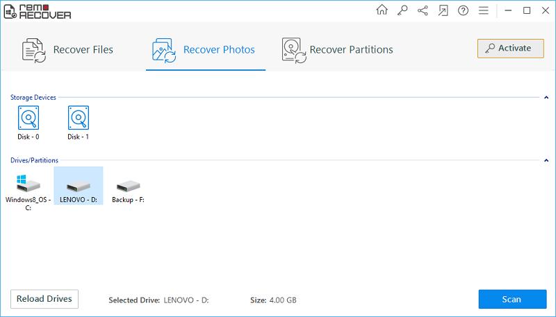 JPEG Recovery Software - Main Screen